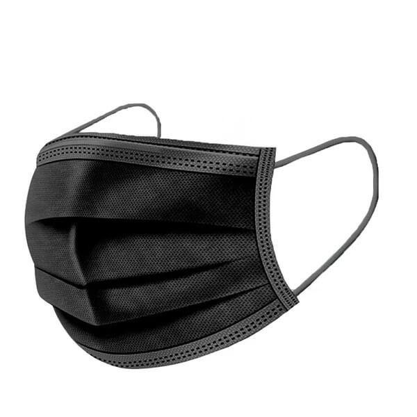 Μάσκες Χειρουργικές 3ply με Λάστιχο  Χρώμα Μάυρο