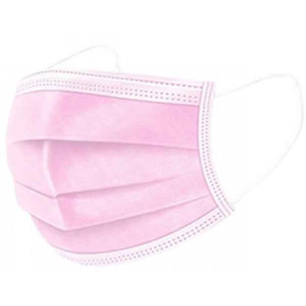 Μάσκες Χειρουργικές 3ply με Λάστιχο Χρώμα Ροζ