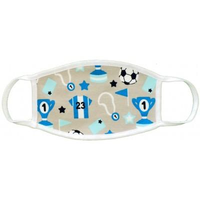 Υφασμάτινη Μάσκα Παιδική Εως 6 Χρονών - Ποδόσφαιρο γκρι